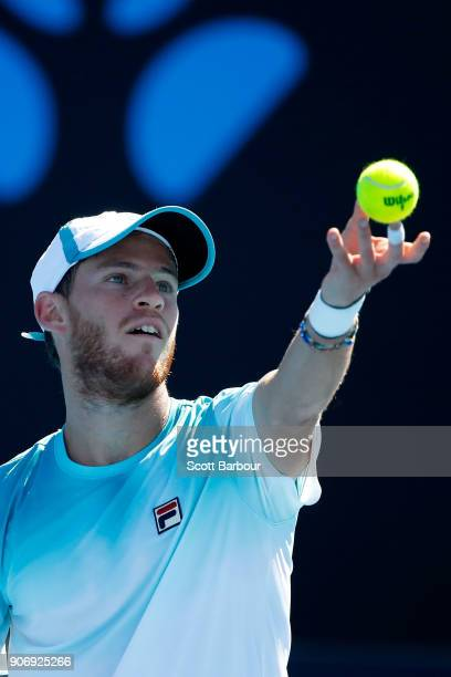Diego Schwartzman of Argentina serves in his third round match against Alexandr Dolgopolov of Ukraine on day five of the 2018 Australian Open at...