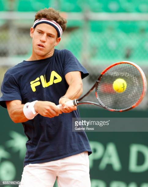 Diego Schwartzman of Argentina takes a backhand shot during a training session prior to a match between Argentina and Italy as part of Davis Cup 2017...