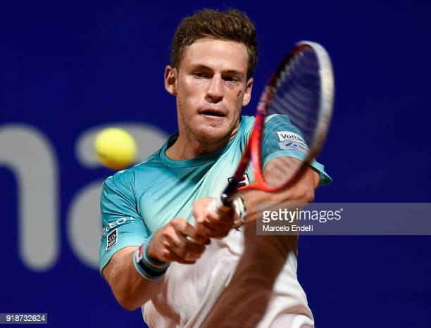 Diego Schwartzman of Argentina takes a backhand shot during a second round match between Diego Schwartzman of Argentina and Thomaz Bellucci of Brazil...