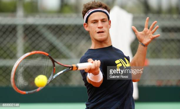 Diego Schwartzman of Argentina takes a forehand shot during a training session prior to a match between Argentina and Italy as part of Davis Cup 2017...