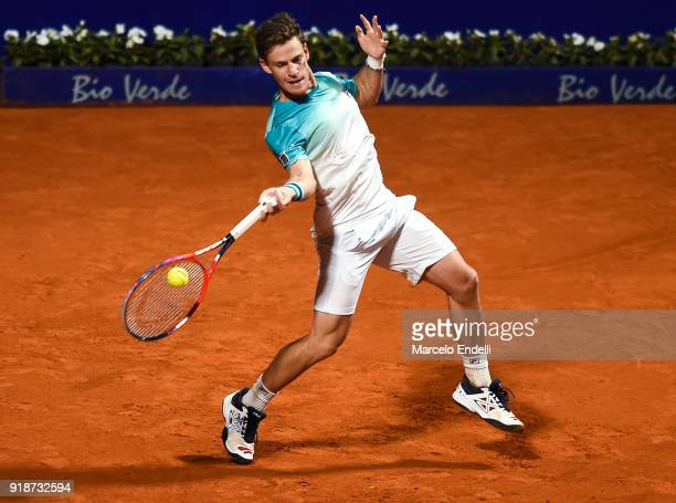 Diego Schwartzman of Argentina takes a forehand shot during a second round match between Diego Schwartzman of Argentina and Thomaz Bellucci of Brazil...