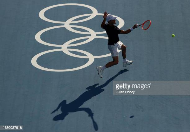 Diego Schwartzman of Team Argentina plays a forehand during the practice session ahead of the Tokyo 2020 Olympic Games at Ariake Tennis Park on July...