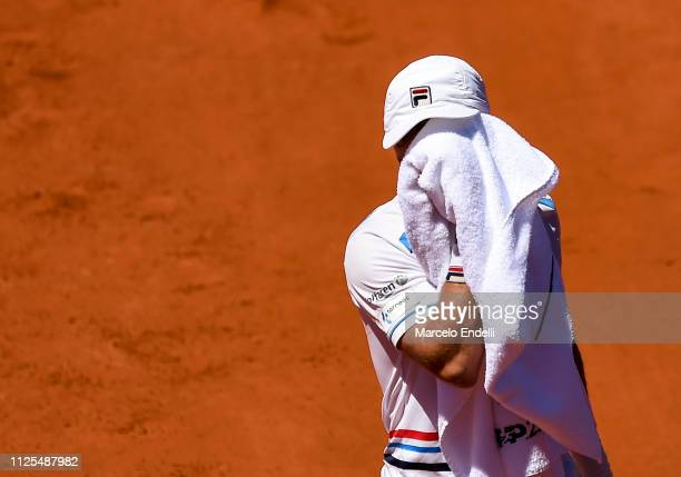 Diego Schwarztman of Argentina reacts after losing a point against Marco Cecchinato during the final day of Argentina Open ATP 250 2019 at Buenos...