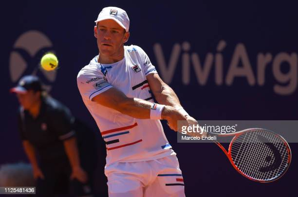 Diego Schwarztman of Argentina takes a backhand shot against Marco Cecchinato of Italy during the final day of Argentina Open ATP 250 2019 at Buenos...