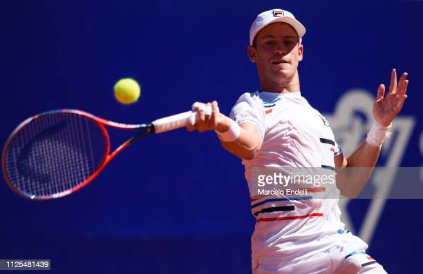Diego Schwarztman of Argentina takes a forehand shot against Marco Cecchinato of Italy during the final day of Argentina Open ATP 250 2019 at Buenos...