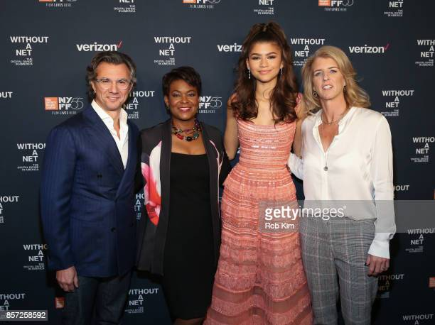 Diego Scotti Rose Stuckey Kirk Zendaya and Rory Kennedy attend the premiere of 'Without a Net' during the 55th New York Film Festival at The Film...