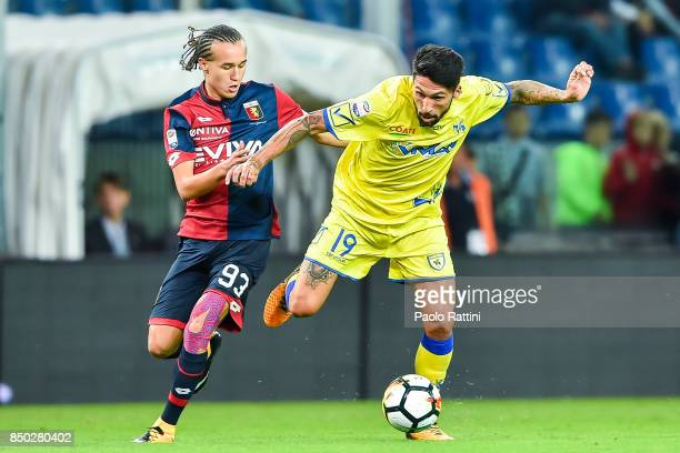 Diego Sebastian Laxalt of Genoa and Lucas Castro of Chievo Verona during the Serie A match between Genoa CFC and AC Chievo Verona at Stadio Luigi...