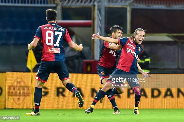 GENOA GE SEPTEMBER 20 Diego Sebastian Laxalt of Genoa celebrates with Miguel Luis Pinto Veloso after scoring a goal during the Serie A match between...