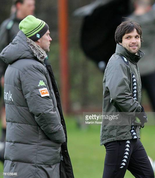 Diego seen during a training session before the Champions league match between Werder Bremen and Real Madrid at the Weser stadium on November 27 2007...