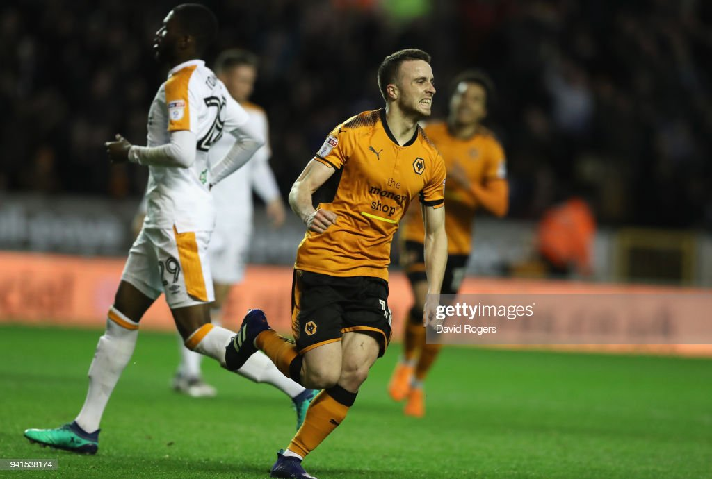 Diego Silva of Wolves scores their first goal during the Sky Bet Championship match between Wolverhampton Wanderers and Hull City at Molineux on April 3, 2018 in Wolverhampton, England.
