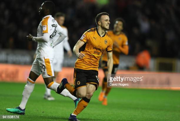 Diego Silva of Wolves scores their first goal during the Sky Bet Championship match between Wolverhampton Wanderers and Hull City at Molineux on...