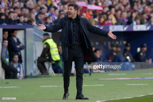Diego Simeone coach of Atletico de Madrid gestures during a match between Real Madrid and Athletic de Bilbao at Wanda Metropolitano Stadium on...