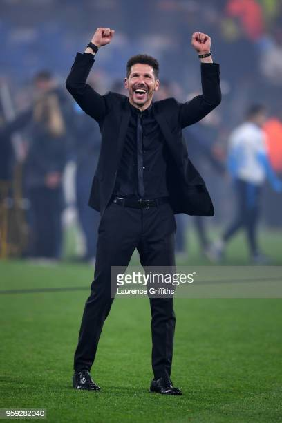 Diego Simeone, Coach of Atletico Madrid celebrates his team's victory in the UEFA Europa League Final between Olympique de Marseille and Club...
