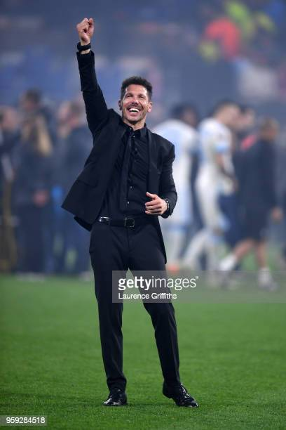Diego Simeone Coach of Atletico Madrid celebrates his team's victory in the UEFA Europa League Final between Olympique de Marseille and Club Atletico...