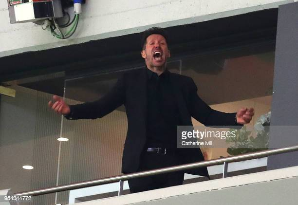 Diego Simeone Coach of Atletico Madrid reacts after winning the UEFA Europa League Semi Final second leg match between Atletico Madrid and Arsenal FC...