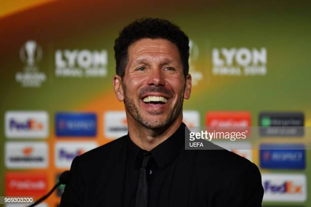 Diego Simeone Coach of Atletico Madrid speaks during a press conference after the UEFA Europa League Final between Olympique de Marseille and Club...