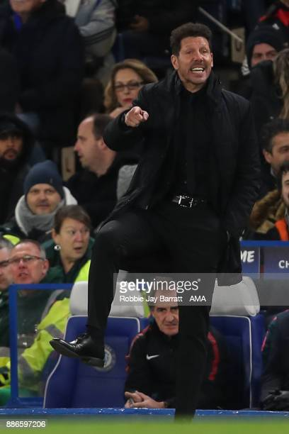 Diego Simeone head coach / manager of Atletico Madrid during the UEFA Champions League group C match between Chelsea FC and Atletico Madrid at...