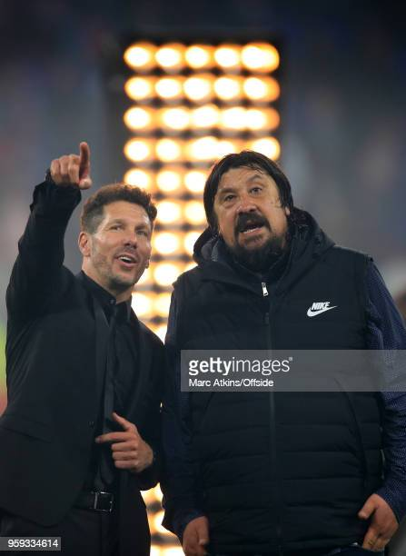 Diego Simeone head coach of Atletico Madrid and assistant German Burgos during the UEFA Europa League Final between Olympique de Marseille and Club...