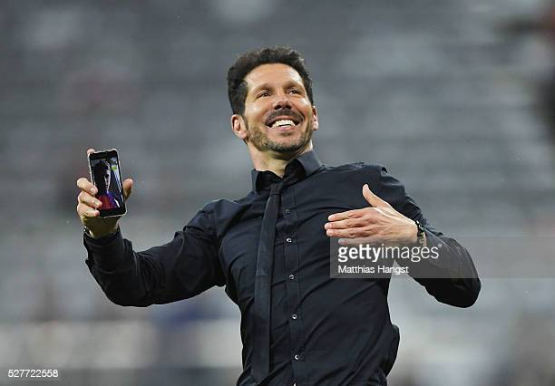 Diego Simeone head coach of Atletico Madrid celebrates after the UEFA Champions League semi final second leg match between FC Bayern Muenchen and...