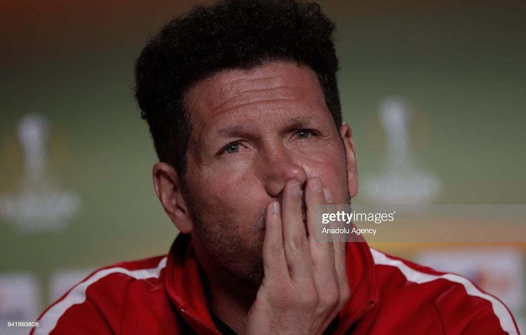 Diego Simeone, Head coach of Atletico Madrid is seen during a pre-match press conference ahead of the UEFA Europa League quarter final match between Atletico Madrid and Sporting CP at Wanda Metropolitano in Madrid, Spain on April 4, 2018.
