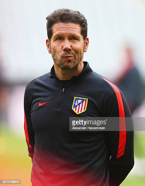 Diego Simeone head coach of Atletico Madrid looks on during an Club Atletico de Madrid training session ahead of their UEFA Champions League semi...