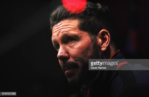 Diego Simeone head coach of Atletico Madrid looks on during an Atletico Madrid press conference ahead of their UEFA Champions League quarter final...