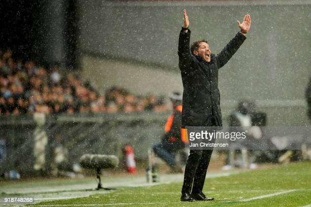 Diego Simeone head coach of Atlético Madrid in action during the UEFA Europa League match between FC Copenhagen and Atletico Madrid at Telia Parken...
