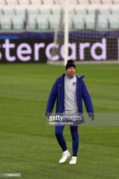 Diego Simeone head coach of Club Atletico de Madrid during training session on the eve of the UEFA Champions League football match between Juventus...