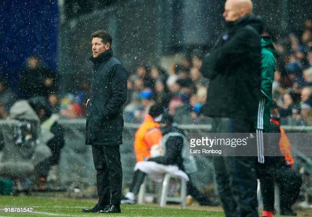 Diego Simeone head coach of Club Atletico de Madrid looks on during the UEFA Europa League round of 32 1 leg match between FC Copenhagen and Atletico...