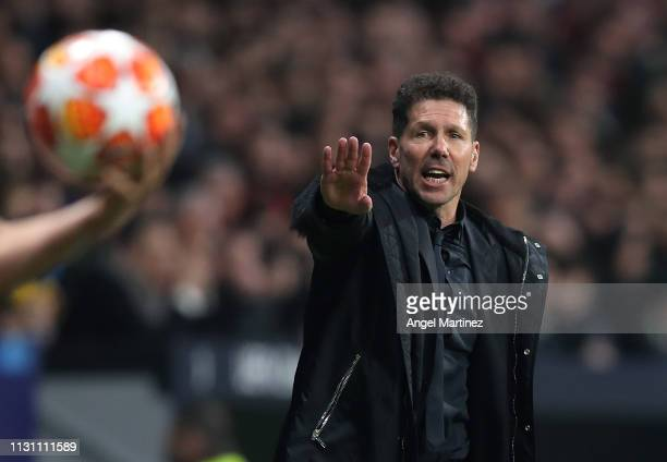 Diego Simeone Manager of Atletico de Madrid gestures during the UEFA Champions League Round of 16 First Leg match between Club Atletico de Madrid and...