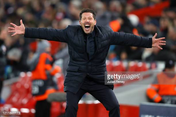 Diego Simeone Manager of Atletico Madrid celebrates after they score their second goal during the UEFA Champions League round of 16 second leg match...