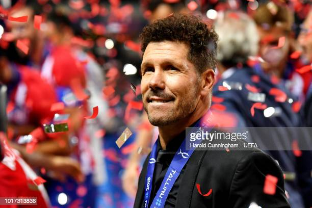 Diego Simeone Manager of Atletico Madrid celebrates victory following the UEFA Super Cup between Real Madrid and Atletico Madrid at Lillekula Stadium...