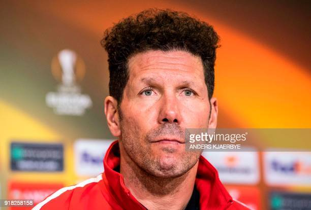 Diego Simeone manager of Atletico Madrid football club speaks during a press conference on February 14 2018 in Copenhagen Denmark on the eve of the...