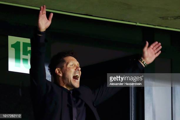 Diego Simeone Manager of Atletico Madrid gives instuctions during the UEFA Super Cup between Real Madrid and Atletico Madrid at Lillekula Stadium on...