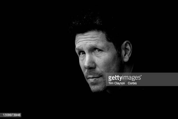 March 01: Diego Simeone, manager of Atletico Madrid, in the dugout during the Espanyol V Atletico Madrid, La Liga regular season match at RCDE...