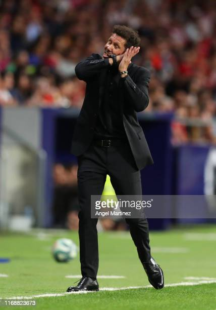 Diego Simeone Manager of Atletico Madrid reacts during the Liga match between Club Atletico de Madrid and Getafe CF at Wanda Metropolitano on August...