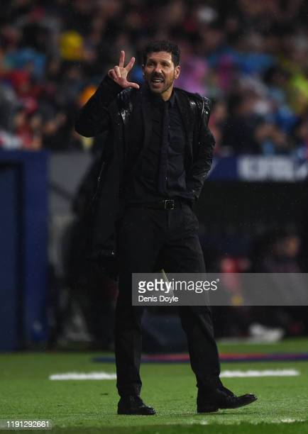 Diego Simeone Manager of Atletico Madrid reacts during the Liga match between Club Atletico de Madrid and FC Barcelona at Wanda Metropolitano on...