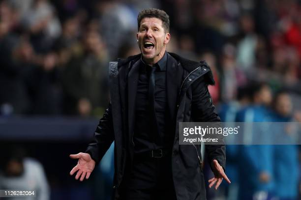 Diego Simeone Manager of Atletico Madrid reacts during the UEFA Champions League Round of 16 First Leg match between Club Atletico de Madrid and...