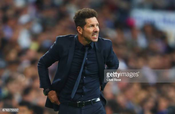 Diego Simeone manager of Atletico Madrid reacts during the UEFA Champions League semi final first leg match between Real Madrid CF and Club Atletico...