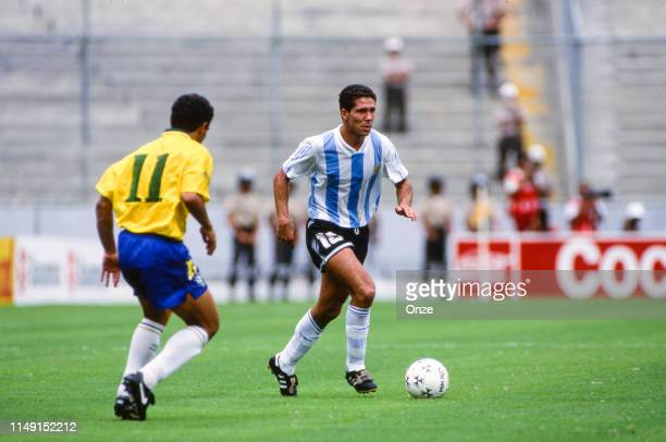 Diego Simeone of Argentina and Zinho of Brasil during the match of Copa America 1993, between Argentina and Brasil, on June 27th in Estadio...