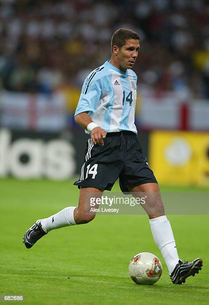 Diego Simeone of Argentina passes the ball during the FIFA World Cup Finals 2002 Group F match between England and Argentina played at the Sapporo...