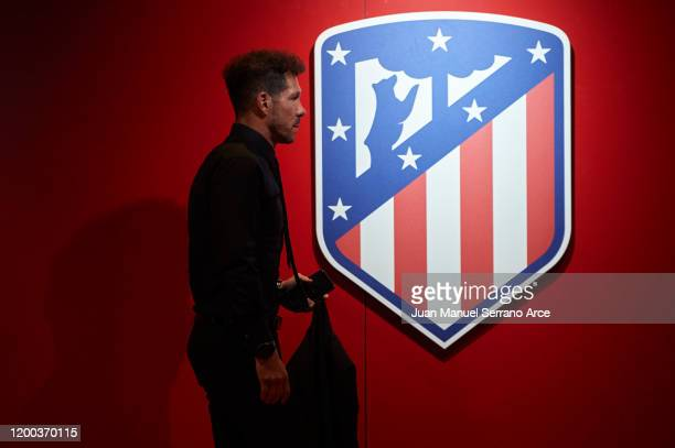 Diego Simeone of Club Atletico de Madrid arrives to the stadium during the Liga match between SD Eibar SAD and Club Atletico de Madrid at Ipurua...