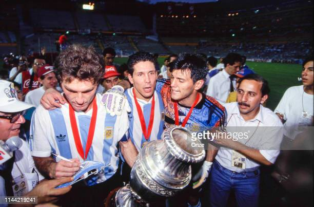 Diego Simeone Sergio Goycochea and Oscar Ruggeri during the final of Copa America 1993 between Argentina and Mexico on July 04th in Estadio...