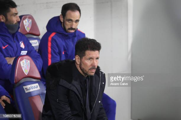 Diego Simeone team coach of Club Atletico de Madrid of during the La Liga match between SD Huesca and Club Atletico de Madrid at El Alcoraz on...