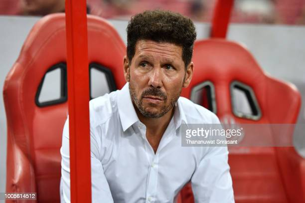 Diego Simeone team manager of Atletico Madrid looks during the International Champions Cup 2018 match between Club Atletico de Madrid and Arsenal at...