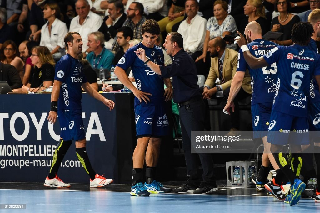 Diego Simonet and Patrice Canayer Coach of Montpellier during Lidl Star Ligue match between Montpellier and Chambery on September 13, 2017 in Montpellier, France.