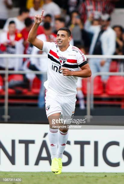 Diego Souza of Sao Paulo celebrates after scoring the first goal of his team during the match against Flamengo for the Brasileirao Series A 2018 at...