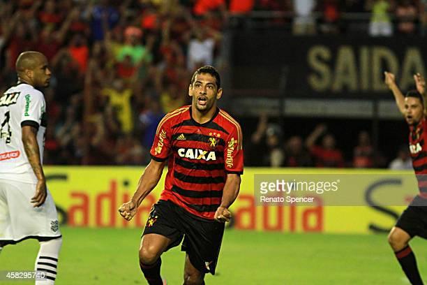 Diego Souza of Sport Recife celebrates his goal during the Brasileirao Series A 2014 match between Sport Recife and Figueirense at Ilha do Retiro...