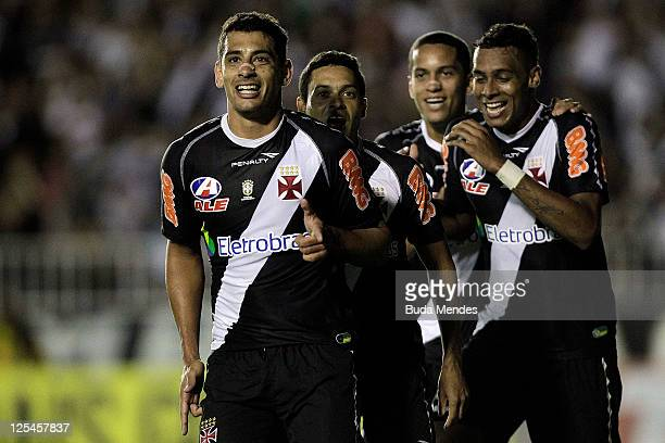 Diego Souza of Vasco celebrates a scored goal aganist Gremio during a match as part of Serie A 2011 at Sao Januario stadium on September 17 2011 in...