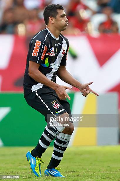 Diego Souza of Vasco da Gama celebrates a scored goal against Flamengo during a match between Vasco da Gama and Flamengo as part of Serie A 2011 at...